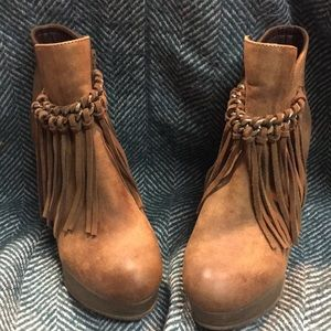 Sbicca Wedge Fringe Angle Booties
